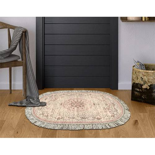 dekoreko tapis Antidérapant oval 5006 avec boucle 60X80 cm