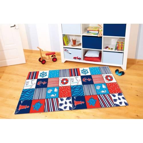 Tapis Dekoreko pour Enfants Patchwork bleu (5051) 120x160
