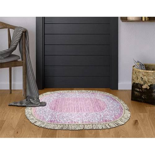 dekoreko tapis Patchwork avec boucle 3D Oval 5135 pembe  80x120 cm