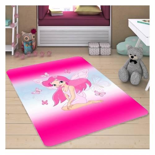 Tapis Dekoreko pour Enfants Patchwork rose (h-142) 120x160