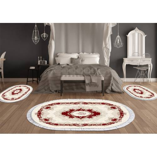 Descend de lit 3 Pcs Oval (DT32301-116) décoration Rouge  - (DE-BL)
