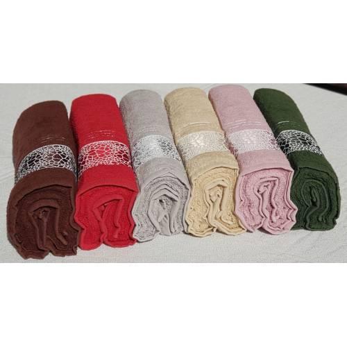 parure serviette 6 pièces multicouleur (70x140)