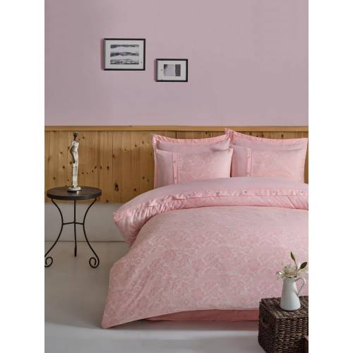 Ensemble de cache couette en satin double rose pastel (CB)