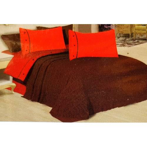 Ensemble de couverture tressée 7 pièces (tricoté) ( marron/oronge )