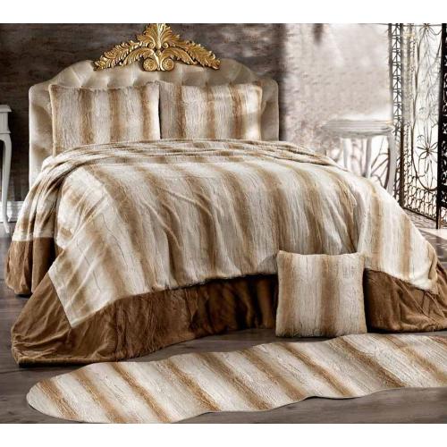Couvre lit 4 pièces Anteloppe Fur Style ( Cappuchino ) (D2)