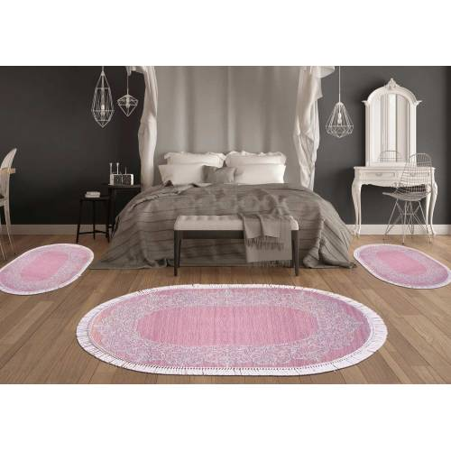 Descend de lit 3 Pcs Oval 80x120+60x90 5135 Pembe (2Pieces) Rose