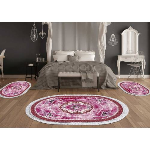 Descend de lit 3 Pcs Oval (DT32029-106) Décoration bordeaux rouge 80x120cm(1Pieces)+60x90cm(2Pieces)
