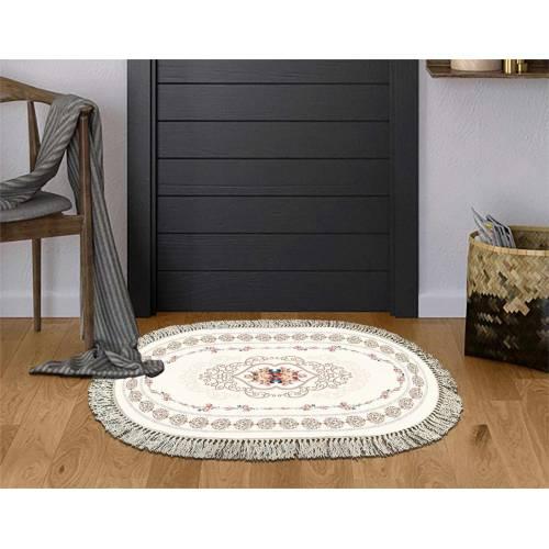 Dekoreko tapis Antidérapant oval 5019 krem avec boucle 80x120 cm