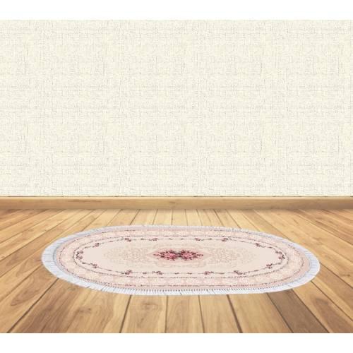 dekoreko tapis antidérapant oval 5019 ROSE avec boucle 80x120 cm