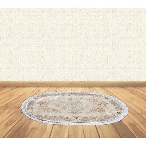 dekoreko tapis Antidérapant oval H-044 KAHVE avec boucle 80x120 cm
