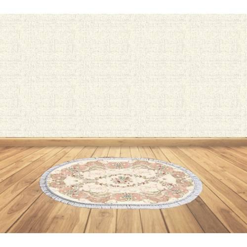 dekoreko tapis Antidérapant oval 5069 rose avec boucle 80x130 cm